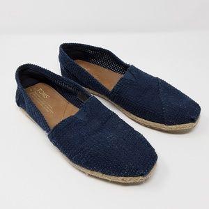 Toms Navy Blue Mesh Jute Natural Flat Shoe Women 8